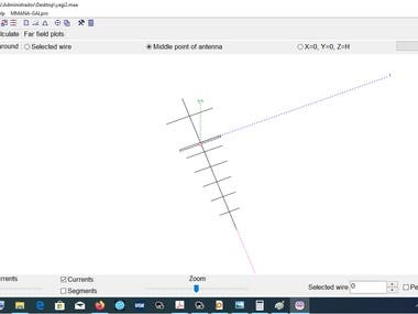 This is a design of folded dipole yagi-uda antenna simulated in the software MMANA-GAL