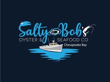 Salty Bob's is a seafood tent catering company targeting premier festivals that cater to wine and oyster events, beer and BBQ festivals. We serve fresh locally grown VA oysters farmed on the Chesapeake Bay and the rivers of the Northern Neck. Our specialties include various oyster entrees, shrimp, crab, seasonal soups and tasty sides. We also keep our Landlubbers satisfied.  Looking for a design that encompasses the company name with oysters, shrimp and crab possibly with a boat design involved in the art. The design may also incorporate a water flair of sorts. A modern water art design would also be considered with the above. A salty bob character could be developed into the project.